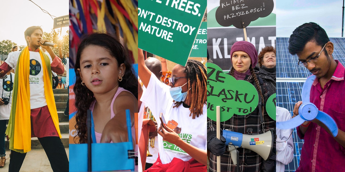 Montage of people taking action against climate change