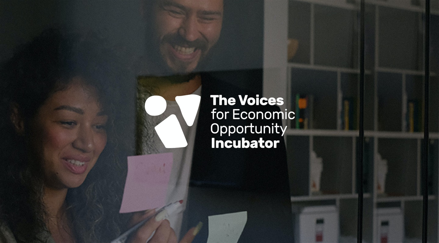 """Image of a logo that says """"Voices of Economic Opportunity Incubator"""""""